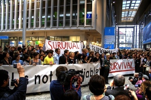 Youth Demonstrate in Support of the Survival of All Countries and Peoples